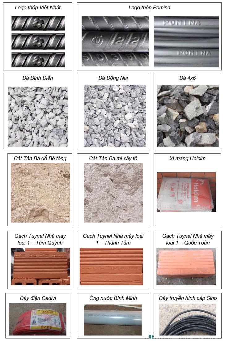 Hình ảnh vật tư được sử dụng tại Phố Việt, đảm bảo chất lượng tốt, phù hợp với báo giá xây nhà phần thô