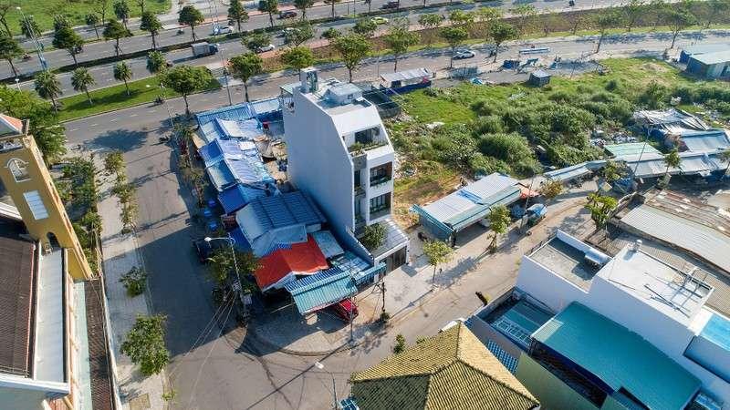 Tổng thể thiết kế ngôi nhà nhìn từ trên cao.