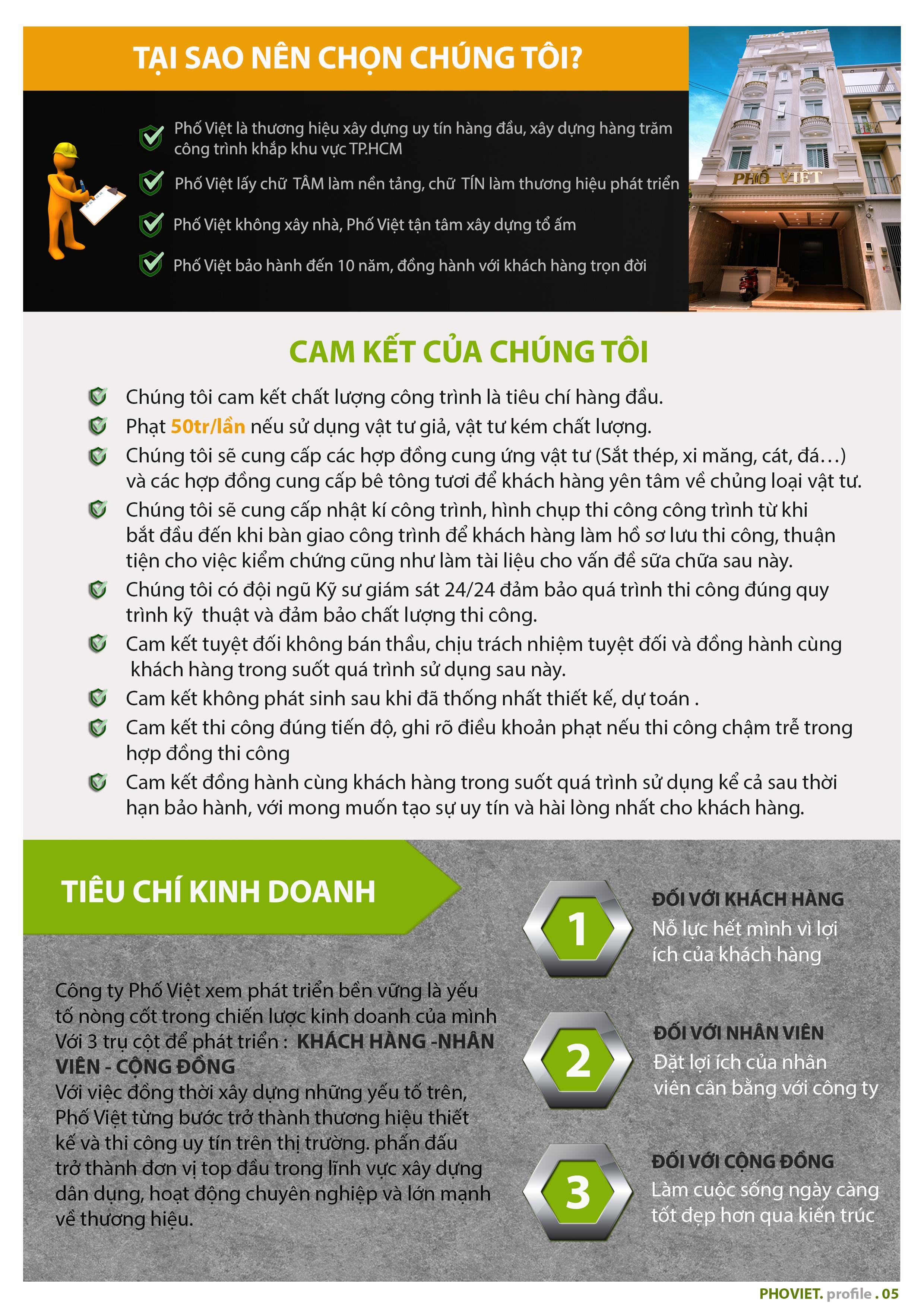 Là công ty xây dựng uy tín tại TPHCM, Phố Việt luôn thực hiện đúng cam kết ngay từ đầu với khách hàng